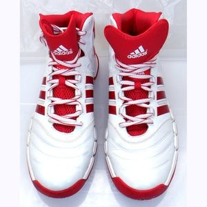 Adidas red/white hi-top basketball shoes